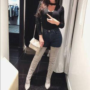 Shoes - Light Gray Pointed Toe Stiletto Thigh-High Boots